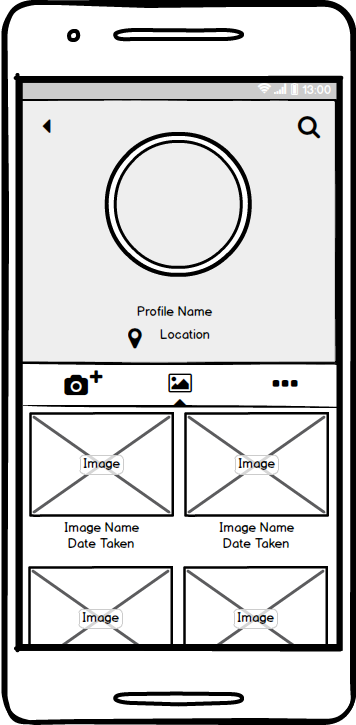 Photography App Wireframe